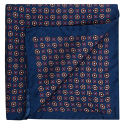 Magee 1866 Geometric Print, Navy Red & Gold Pocket Square