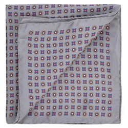 Magee 1866 Geometric Print, Grey, Red & Blue Pocket Square