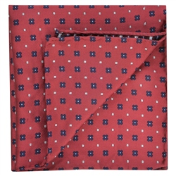 Magee 1866 Flower Print, Red & Blue Silk Pocket Square
