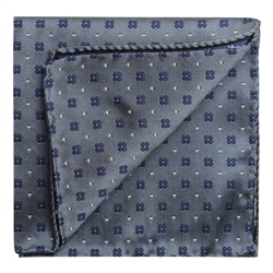 Magee 1866 Flower Print Grey & Blue Pocket Square