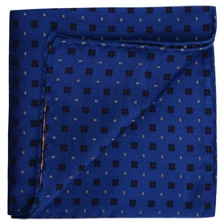 Magee 1866 Flower Print Blue Pocket Square
