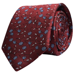 Magee 1866  Flower Print, Red & Blue Silk Tie