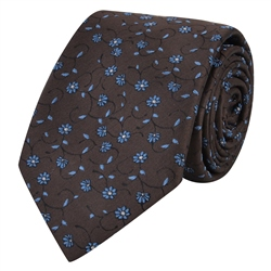 Magee 1866 Brown & Blue Flower Print Silk Tie