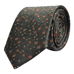 Magee 1866 Flower Print, Brown Orange & Gold Silk Tie
