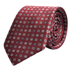 Magee 1866 Flower Print, Red, Silver & Grey Classic Silk Tie