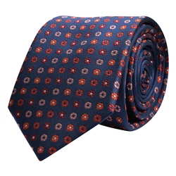 Magee 1866 Flower Print, Navy, Red & Pink Silk Tie