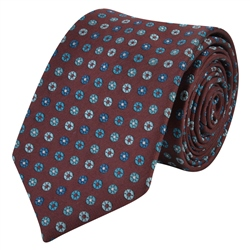 Magee 1866 Flower Print, Burgundy & Blue Silk Tie