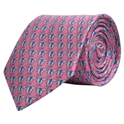 Magee 1866 Elephant Print, Pink Silk Tie