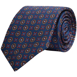 Magee 1866 Geometric Print, Navy, Red & Gold Silk Tie