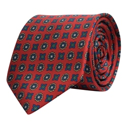 Magee 1866 Geometric Print, Red, Navy & Gold Silk Tie