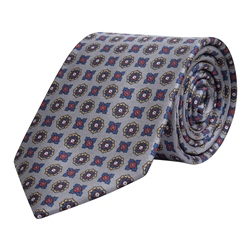 Magee 1866 Geometric Print, Grey, Red & Blue Silk Tie
