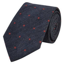 Magee 1866 Flower Print, Navy & Red Woven Tie