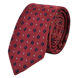 Magee 1866 Flower Print, Red & Blue Woven Silk Tie