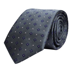 Magee 1866 Flower Print, Grey & Blue Silk Tie
