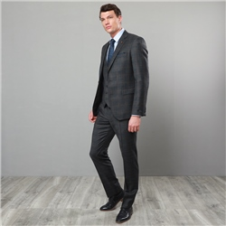 Magee 1866 Charcoal & Blue Checked 3 Piece Tailored Fit Suit