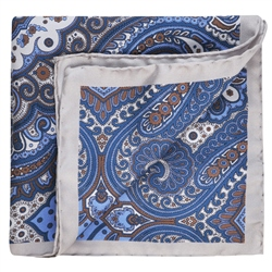 Magee 1866 Blue, Grey & Red Silk Print Pocket Square