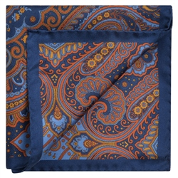 Magee 1866 Blue, Red & Gold, Silk Print Pocket Square