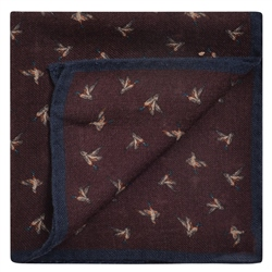 Magee 1866 Bird Print, Purple & Navy Wool Pocket Square