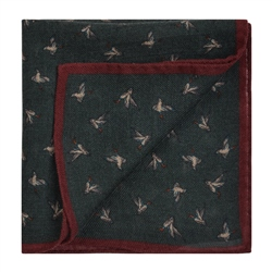 Magee 1866 Bird Print, Green & Red Wool Pocket Square