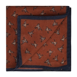 Magee 1866 Bird Print, Rust & Navy Wool Pocket Square