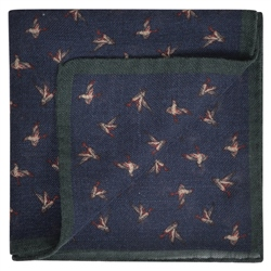 Magee 1866 Bird Print, Navy & Green Pocket Square