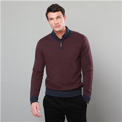 Magee 1866 Burgundy Cashelenny Cotton Birdseye Classic Fit Jumper