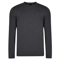 Magee 1866 Charcoal Carn Cotton Crew Neck Classic Fit Jumper