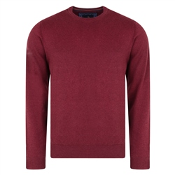 Magee 1866 Burgundy Carn Cotton Crew Neck Classic Fit Jumper