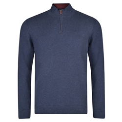Magee 1866 Navy Carn Cotton 1/4 Zip Neck Classic Fit Sweater