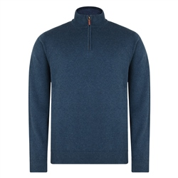 Magee 1866 Navy Carn Cotton 1/4 Zip Neck Classic Fit Jumper