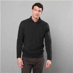 Magee 1866 Grey Carn Cotton 1/4 Zip Neck Classic Fit Jumper