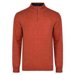 Magee 1866 Rust Carn Cotton 1/4 Zip Neck Classic Fit Jumper