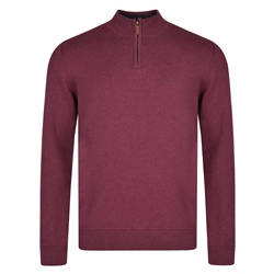 Magee 1866 Burgundy Carn Cotton 1/4 Zip Neck Classic Fit Jumper