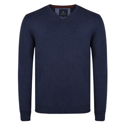 Magee 1866 Navy Carn Cotton V-Neck Classic Fit Jumper