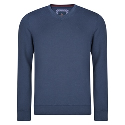 Magee 1866 Navy Carn Cotton V Neck Classic Fit Jumper