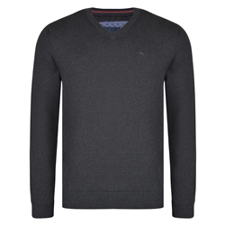 Magee 1866 Charcoal Carn Cotton V Neck Classic Fit Jumper
