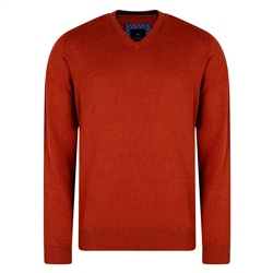 Magee 1866 Rust Carn Cotton V Neck Classic Fit Jumper