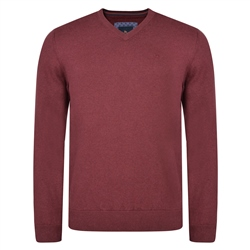 Magee 1866 Burgundy Carn Cotton V Neck Classic Fit Jumper