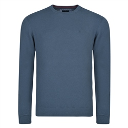 Magee 1866 Navy Faugher Structure Cotton Crew Neck Classic Fit Jumper