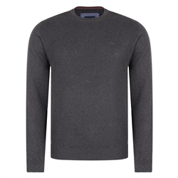 Magee 1866 Grey Faugher Structure Cotton Crew Neck Classic Fit Jumper