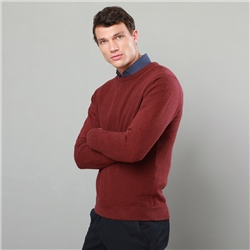 Magee 1866 Burgundy Faugher Structure Cotton Crew Neck Classic Fit Jumper
