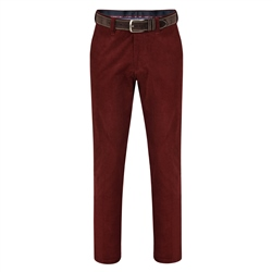 Magee 1866 Burgundy Dungloe Needle Cord Classic Fit Trousers