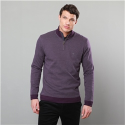 Magee 1866 Plum Edrim 1/4 Zip Classic Fit Sweater