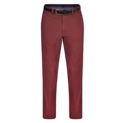 Magee 1866 Burgundy Dungloe Washed Look Classic Fit Trouser