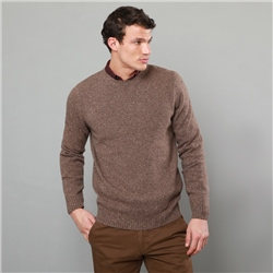 Magee 1866 Oat Tamur Lambswool Donegal Fleck Crew Neck Jumper