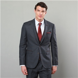 Magee 1866 Blue & Burgundy Houndstooth 3-Piece Twist Tailored Fit Suit