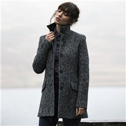 Magee 1866 Black & White Linsford Herringbone Donegal Tweed Coat