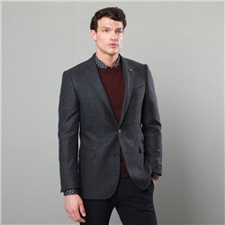 Magee 1866 Blue & Brown Checked Classic Fit Jacket