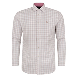 Magee 1866 White & Burgundy Drumore Grid Check Classic Fit Shirt