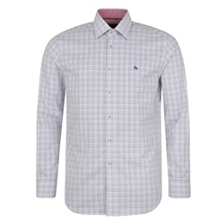 Magee 1866 White & Blue Drumore Grid Check Classic Fit Shirt